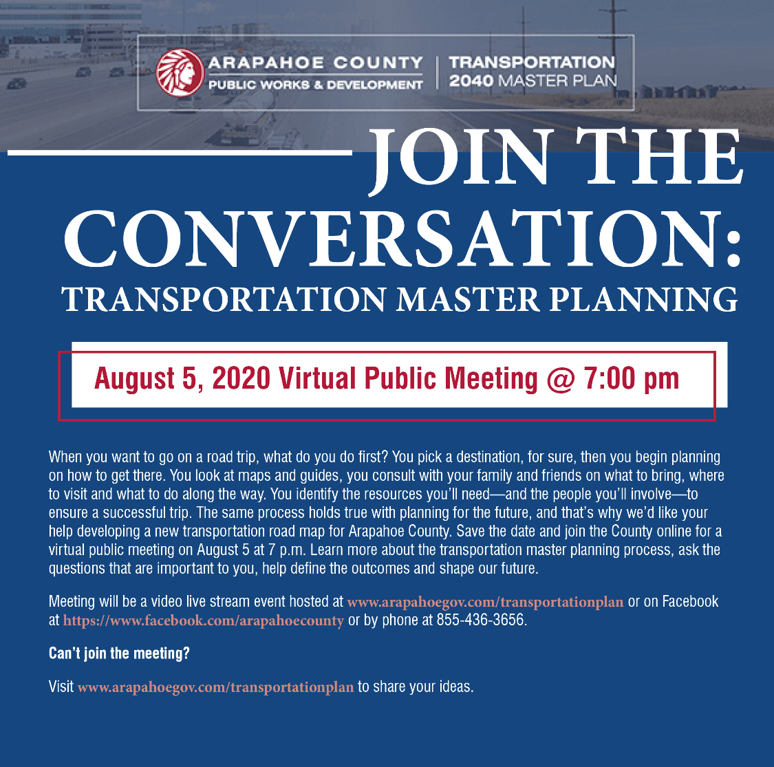 Join the conversation about transportation needs